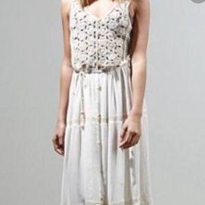 Anthropologie NWOT white crochet flowy long dress